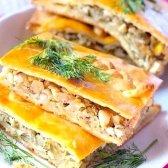 Як спекти листковий пиріг з копченим лососем
